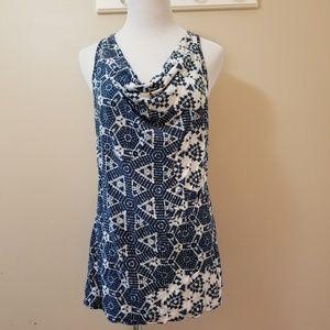 BR🍌racerback cowl neck shibori style print top